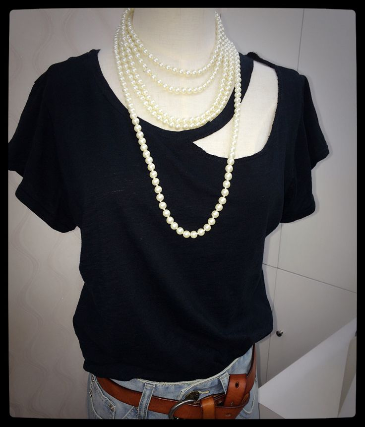 Black ripped tee shirt with pearls