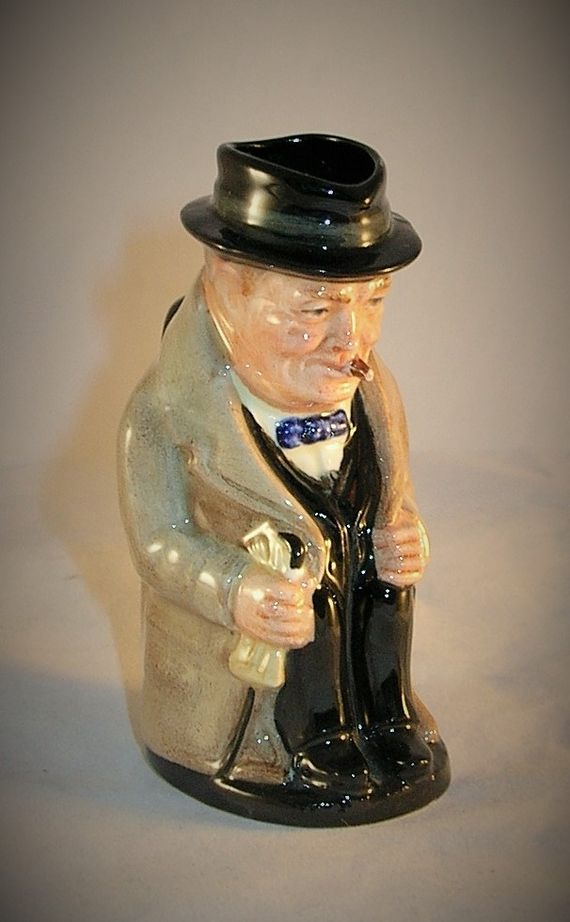 "Royal Doulton Toby Jug miniature Made in England  Winston Churchill  3 5/8"" tall.  Excellent condition with no damage to report.  $29.99 Ebay auction with Free Shipping"