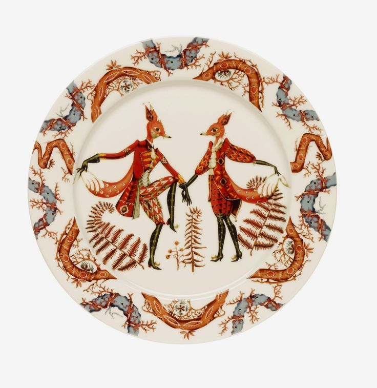 Thought of you Katie & Matt... Fox plates! Little Helsinki:  Tanssi - Finnish dinnerware by Klaus Haapaniemi
