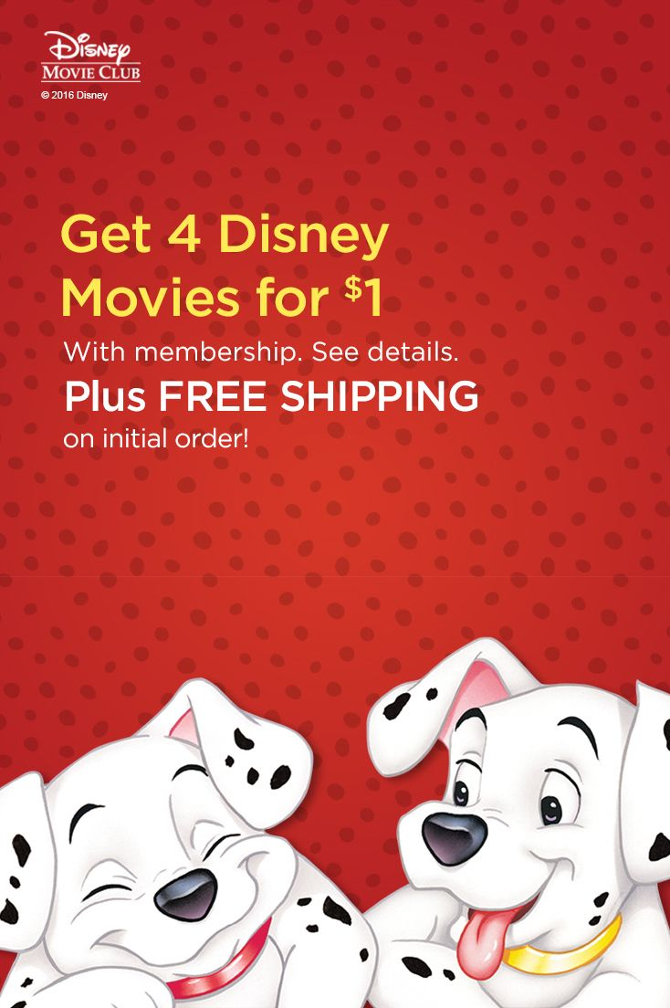 See if you can keep count of all the dog spots in 101 Dalmatians when you add it to your Disney Movie Club queue. Your first order ships free and you get 4 movies for $1 with membership! See details.