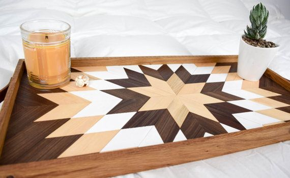 Wood Tray with Leather Handles Modern Serving Tray