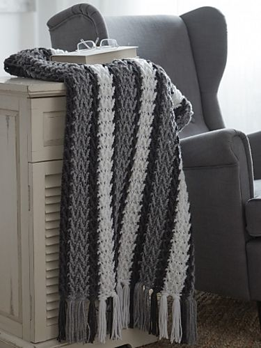 Arrowhead Striped Afghan pattern by Caron Design Team ...