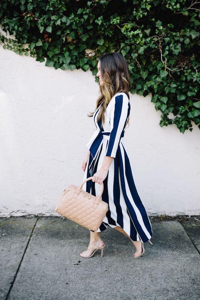 """Bon Voyage"" Striped Midi Dress | KBStyled | Nashville Fashion Blog"