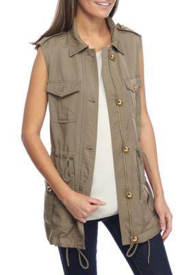 Michael Michael Kors Women's Tencel Cargo Vest - Safari Green - Xl
