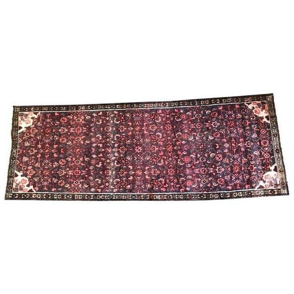"""Hussainabad Persian Runner Rug - 37"""" x 101"""" ($450) ❤ liked on Polyvore featuring home, rugs, traditional handmade rugs, hand knotted rugs, coloured rug, persian rugs, persian design rugs and hand-knotted rug"""