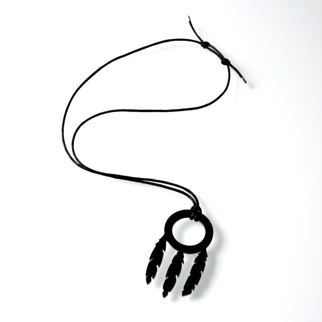 Dreamcatcher Necklace #dreamcatcher #necklace #Woolves #native #dream #black #jewelry #bohemian #lasercut #wolf