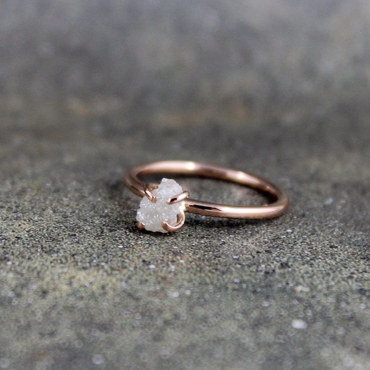 Raw Diamond Ring  14K Pink Rose Gold Engagement by ASecondTime, $395.00