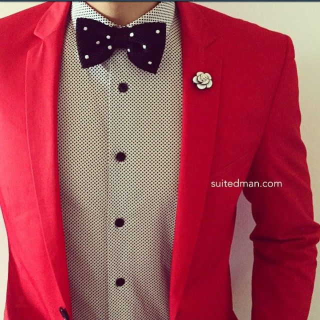 Suited Man's Stylings - Knit Bow Tie - Red Blazer