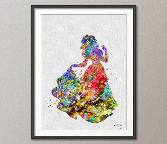 Snow White Disney Princess Watercolor Nursery Art for by CocoMilla