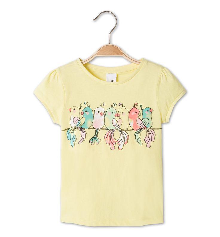 Frontimage view Camiseta de manga corta de algodón eco in amarillo claro