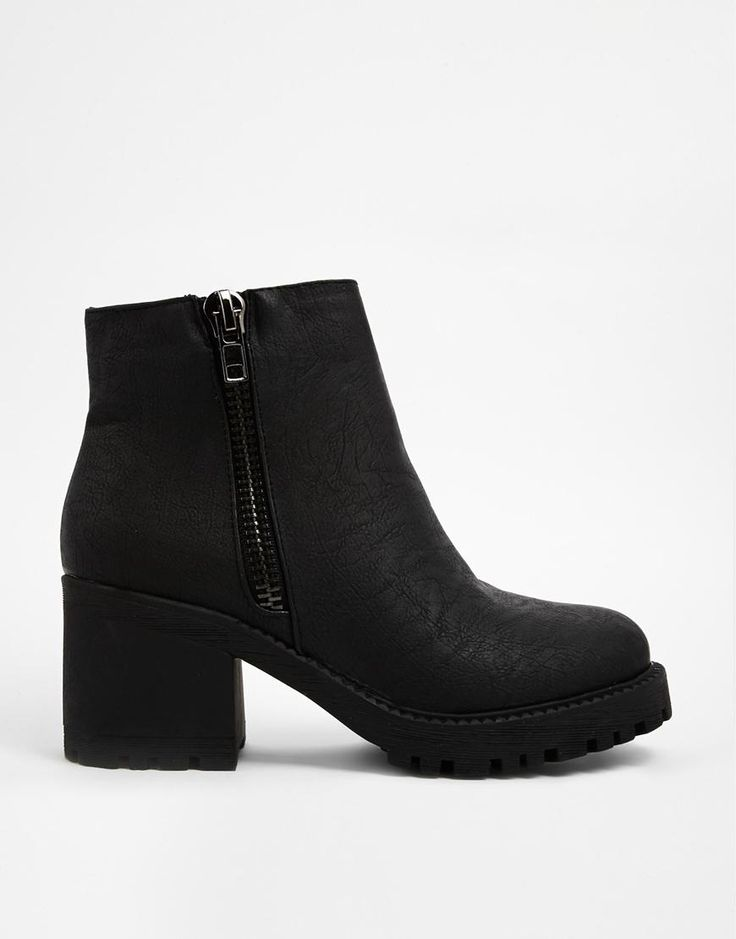 New Look   New Look Champ Black Zip Detail Chunky Heeled Ankle Boots at ASOS