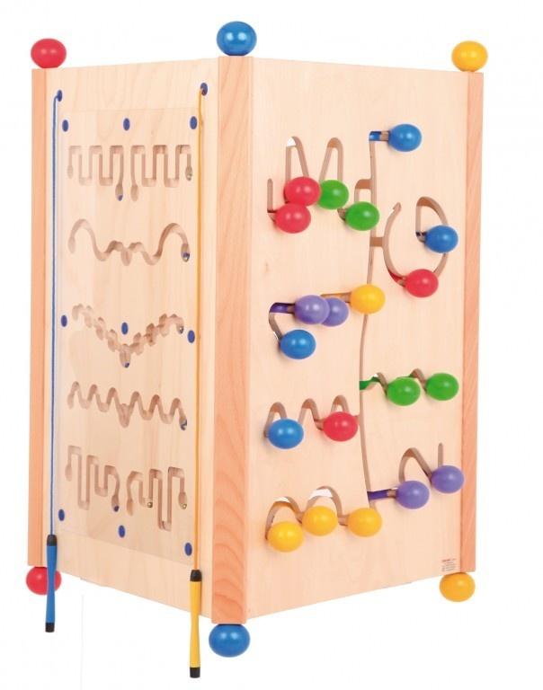 Deze zeer mooie Houten activiteiten speeltoren van KPW heeft maar liefst 3 speelzijden . Kinderen zullen zich met dit speeltoestel eindeloos vermaken ! Elke zijde van deze speelkubus heeft weer haar eigen thema en ieder kind zal in uw wachtruimte hierdoor aangetrokken worden. Zeer professionele Activiteiten Speelkubus van maar liefst 82 cm hoog voor de professionele gebruiker in uw kinderspeelhoek.