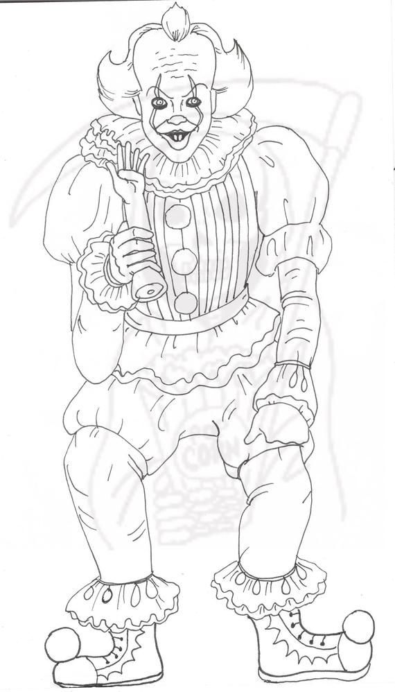 Pennywise Coloring Page It Creepy Clown Etsy Avengers Coloring Pages Monster Coloring Pages Avengers Coloring