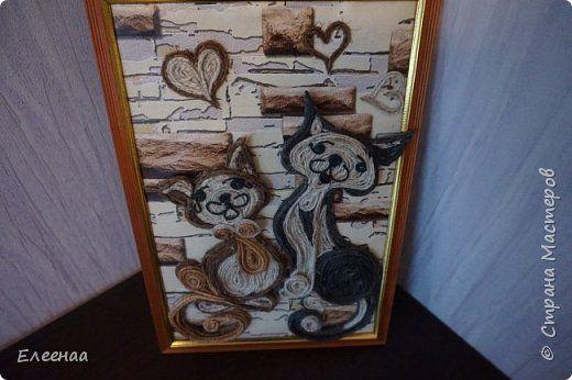 Картина панно рисунок Аппликация Мартовские джутовые кошечки Шпагат фото 1