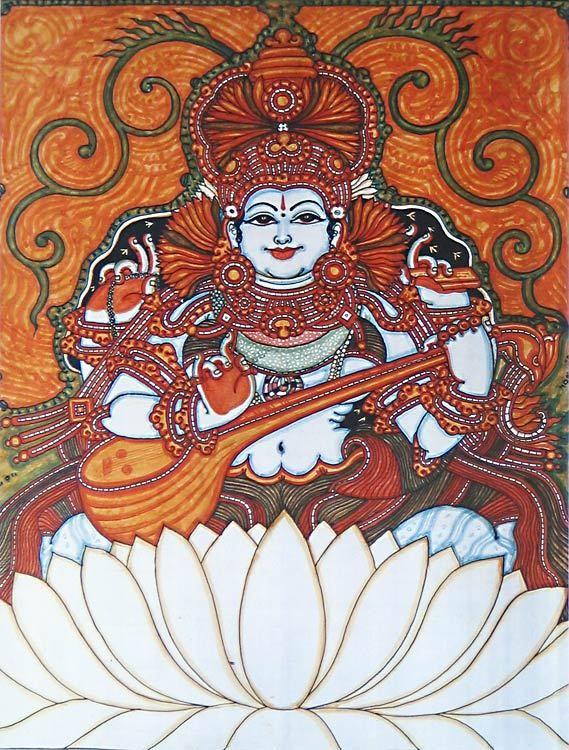 Goddess Saraswati (Reprint on Paper - Unframed))