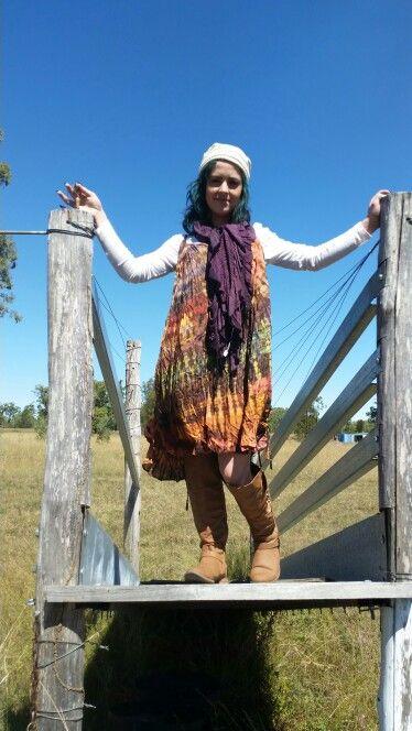 Tye dye dress fits most sizes light weight  cotton