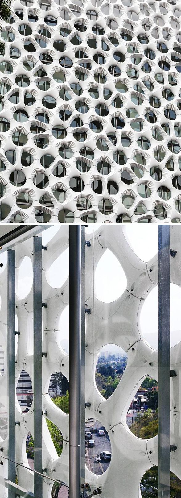 This sculptural facade also doubles as an air-cleaning cladding. The tiles are produced by Elegant Embellishments (called the Prosolve 370e). They are lightweight, thermoformed plastic tiles coated in powdered, photocatalytic titanium dioxide (TiO2) which scrubs pollution from the air. #facade #material #pollution