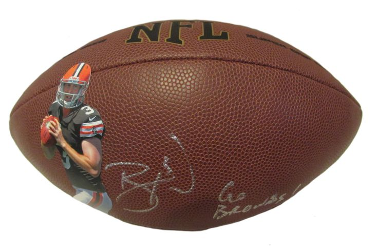 """Brandon Weeden Autographed Custom Cleveland Browns NFL Wilson Photo Football w/. Brandon Weeden Signed NFL Cleveland Browns Photo Football w/ """"Go Browns!"""" Inscription! Proof  This is a brand-new custom Brandon Weeden autographed NFL Wilson composite photo football featuring """"Go Browns!"""" inscription! Brandon signed the footballin silver paint pen.Check out the photo of Brandon signing for us. ** Proof photo is included for free with purchase. Please click on images to enlarge. Please…"""