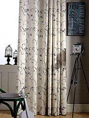 två paneler grön grå vinstockar blommig linne polyesterblandning gardin