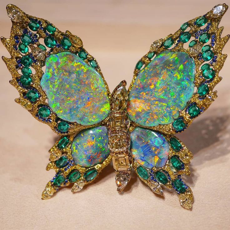 """Gorgeous butterfly brooch with black opals, diamonds, sapphires and emeralds by Moussaieff Jewellers (@blissfromparis) on Instagram: """""""