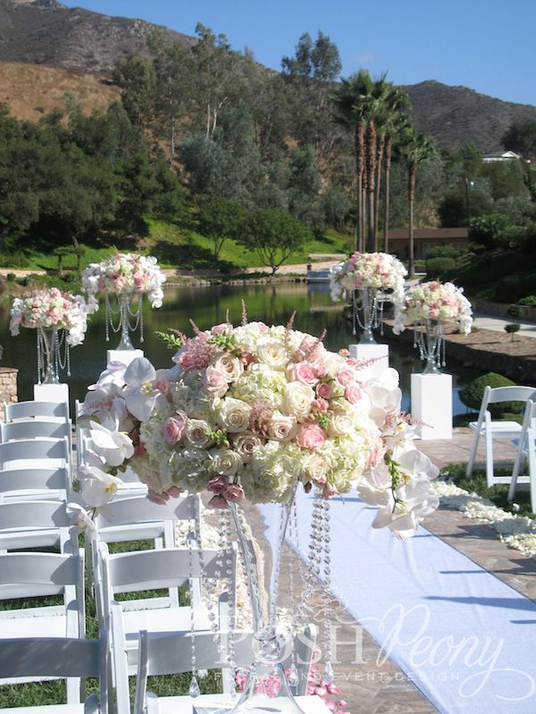 Los Willows Fallbrook Wedding Gorgeous Blush Pink Adorned With Roses And Orchids Crystals