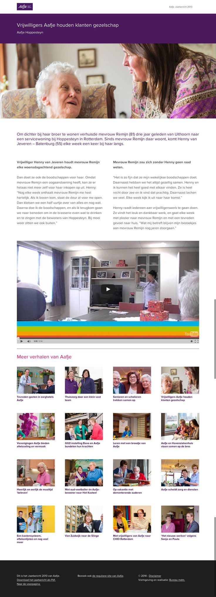 Jaarverslag-site voor Aafje.   www.aafje2013.nl