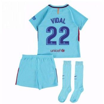 Barcelona Aleix Vidal 22 kläder Barn 17-18 Bortatröja Kortärmad  #Billiga #fotbollströjor