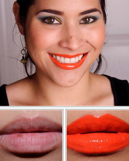 MAC Morange Lipglass layered over Morange Lipstick