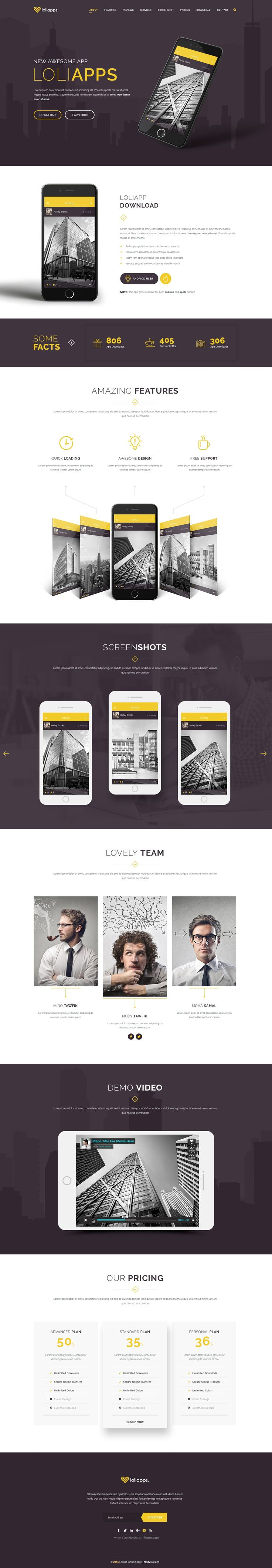 Loliapps is App Landing Page Template, this design has an extremely well-layered #PSD where you will be able to find everything you need in an instance. #landingpage #template