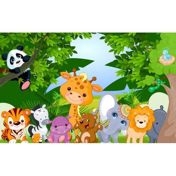 décoration murale Papier peint personnalisé tapisserie numérique paysage pour bébé enfant-les animaux de la forêt