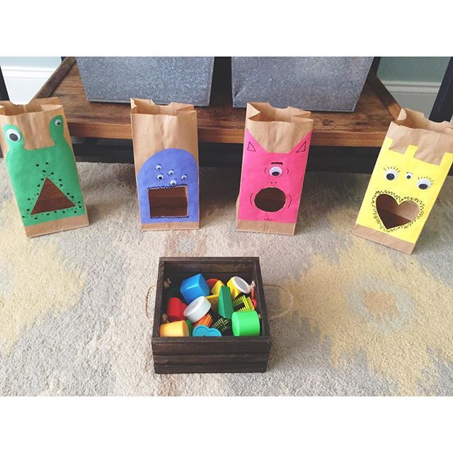 Shape Monsters || This is the most successful activity we have tried in the past two weeks. She loved this!! I was laughing so hard (watch the video in the following post to see why). She completed the entire box of shapes & was still engaged. I highly recommend this activity