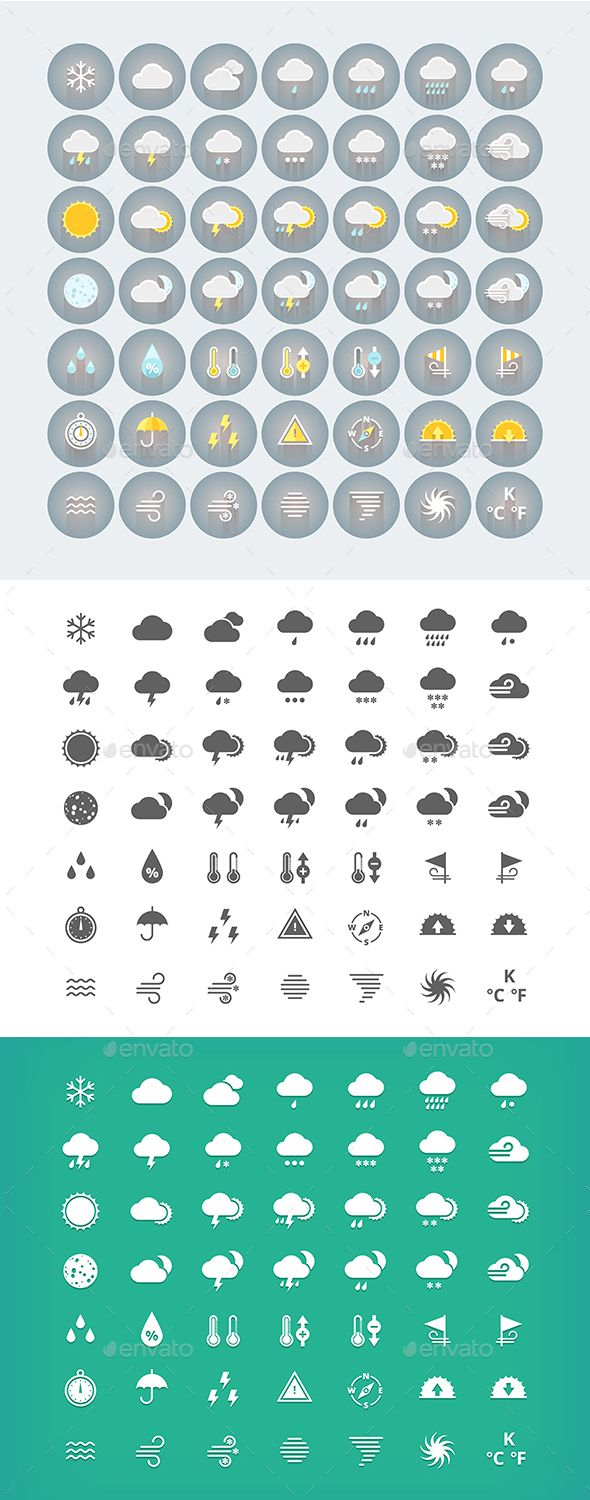 49 Flat Weather Icons Pack by painterr Pack of flat weather icons. Suits for weather forecast widgets and mobile applications. Made in modern colored flat style with ver