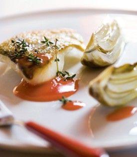 Gebakken zeewolf met bloedappelsienboter en geroosterde venkel - Recepten - Culinair - KnackWeekend.be
