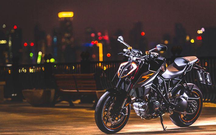 Download wallpapers Avis KTM Super Duke R, night, 2018 bikes, tuning, superbikes, KTM