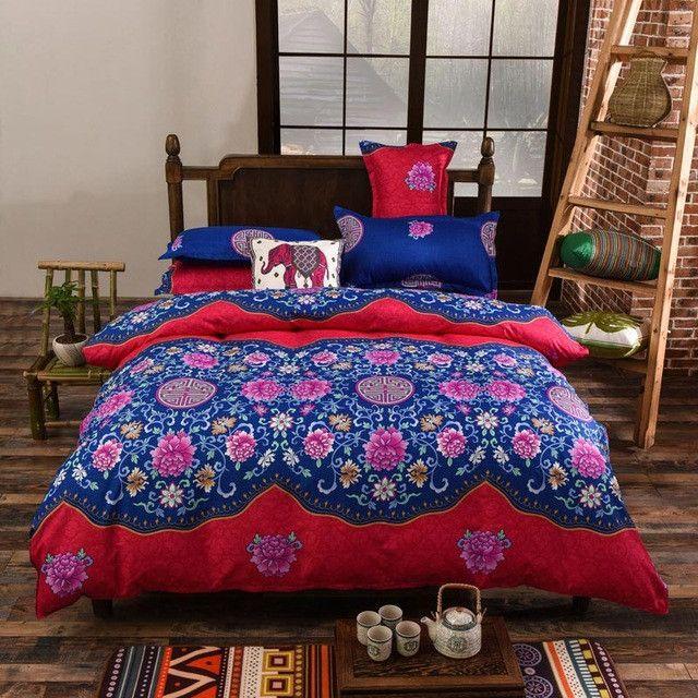 bohemian style floral printing size bedding set 4pcs comforter duvet cover