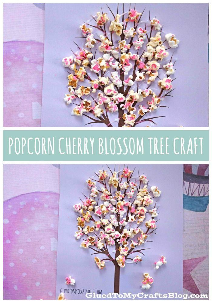 Cherry Blossom Popcorn Tree Kid Craft W Free Printable Template Blossom Trees Cherry Blossom Tree Spring Crafts For Kids