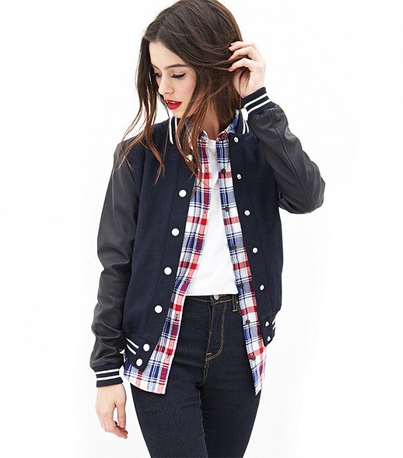 Cheap and chic! // Forever 21 Faux Leather Varsity Jacket