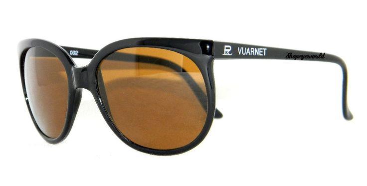 New 280$ VUARNET 002 Black Cat Eye Sunglasses PX2000 brown glass lens #Vuarnet #Rectangular