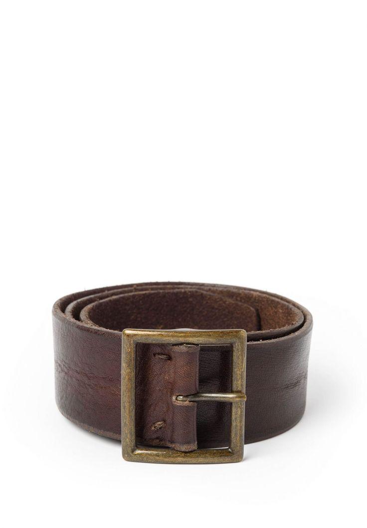 Riccardo Forconi Square Buckle Belt in Dark Brown