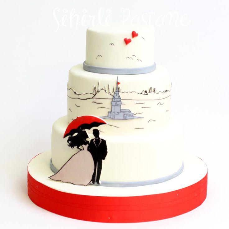 Istanbul Themed Wedding Cake by Sihirli Pastane - http://cakesdecor.com/cakes/266948-istanbul-themed-wedding-cake