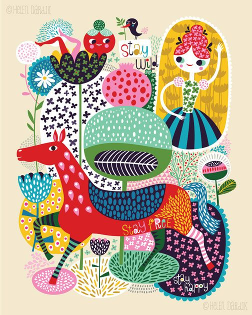 Stay Wild... - limited edition giclee print of an original illustration by Helen Dardik, via Etsy