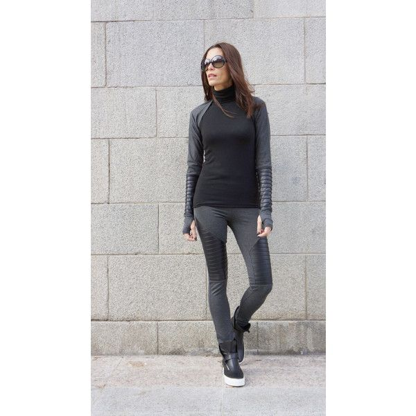 New Collection Grey Extra Long Leggings Genuine Black Leather Front... ($64) ❤ liked on Polyvore featuring pants, leggings, black, women's clothing, gray leggings, grey ribbed leggings, grey pants, ribbed leggings and wrap around pants