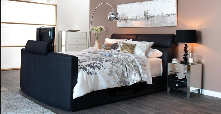 Elson TV Bed Bedroom Furniture - Looking for something special to have in your bedroom, set your eyes on this unique TV Bed. This dramatic TV Bed features a leather-look fascia in a modern design. The high headboard will create that additional support between you and the wall, whilst the high footend will help position the TV in just the right spot for you to watch TV.