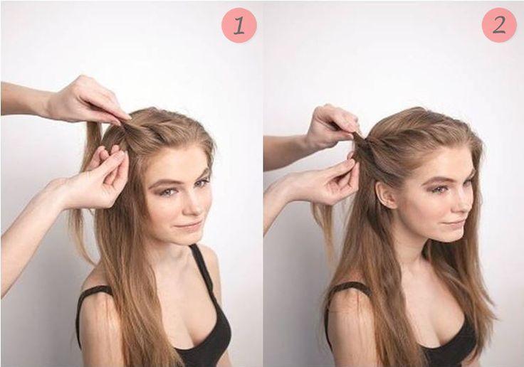 Разделите волосы на пробор и начинайте легкое плетение в направлении затылка