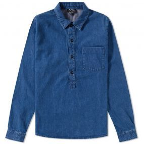 The Duke Shirt offers a contemporary take on the classic denim shirt, with French label A.P.C. updating the design in their own inimitable way.Created from a Japanese cotton that has undergone a series of stonewashing processes, the Duke Shirt features a half button placket to the front with a box pleat to the back yoke to create a relaxed fit. 100% Cotton Japanese Fabric Stonewashed Treatment Half Button Placket Back Yoke & Box Pleat