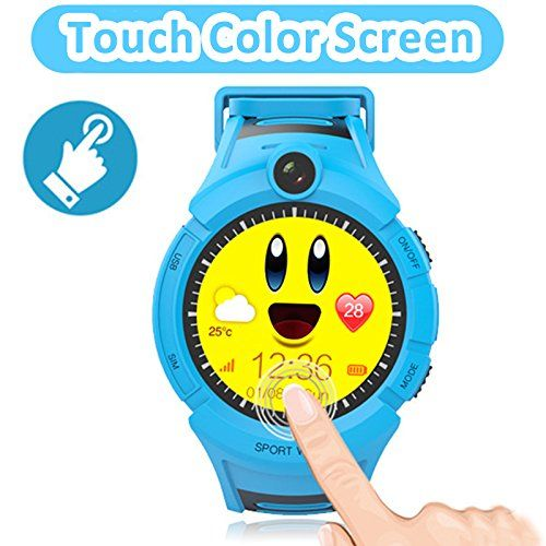 Smartwatch GPS Tracking for kids, with Touch Screen Phone Call Anti-lost Remote Wristband Bracelet for Children (USA Edition) (001 Blue)   Functions:Phone Call, 2 way calls, SOS, Voice Chat, Anti-lost Alarm, Night Flashlight,Remote CameraUpdateWe've made a video g