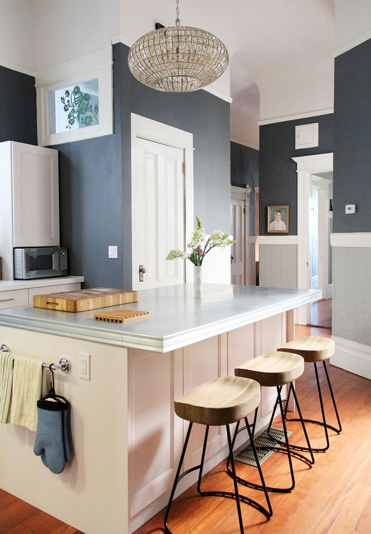Andi & Dean's Modern Meets Victorian - Apartment Therapy - LOVE the walls, stools and counter top.