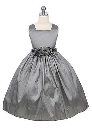 Flower Girl Dress Style 3047- Choice of Color Square neckline with hand rolled waist flowers