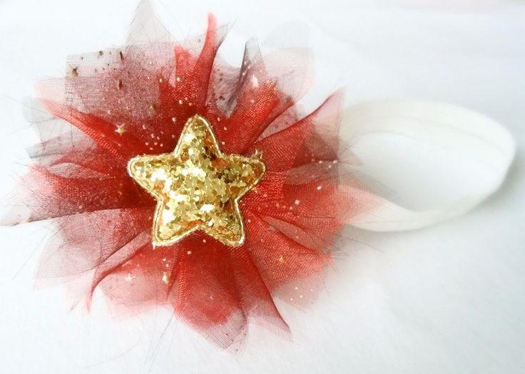 Śliczna opaska na święta czerwona złota gwiazdka - MadebyKaza - Opaski dla niemowląt