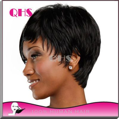 Cheap Human Real Hair wig Pixie Cut Short Wig For Black Women Average Size Hair Human Short Black Wigs African American Wigs